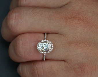 Moissanite Oval Ring Engagement Ring Forever Classic Moissanite Oval 9x7mm and Diamond Halo Ring (Available in 18k Gold also)