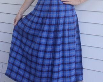 Blue Plaid Long Skirt 50s 60s Knit Vintage S 26 Waist
