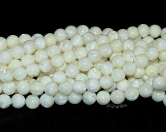"""Mother of Pearl Shell 8mm Round Beads - 15"""" Strand"""