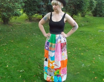 Vintage PATCHWORK Skirt // 1960s Mod Neon Quilt Maxi Skirt Vintage Fabric // Hippie Wrap Skirt Psychedelic // Medium Large