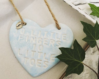 New baby little fingers and toes hanging heart keepsake clay plaque tag