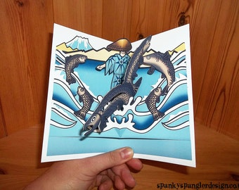 Japanese Ukiyo e inspired Fisherman pop up birthday card