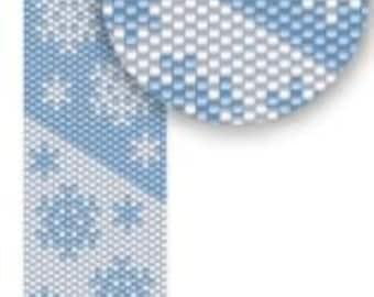 Snowflakes - winter fashion - Pattern Peyote Bracelet - Peyote Cuff Bracelet Pattern - snowflake - seed bead pattern -  peyote pattern