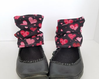 Shoe Spats Toppers Boot Cuffs Anklets Custom Charms Socks Leg Warmers Decor Sneakers Ankle Warmers Pink Hearts Ankle Boots OOAK Original