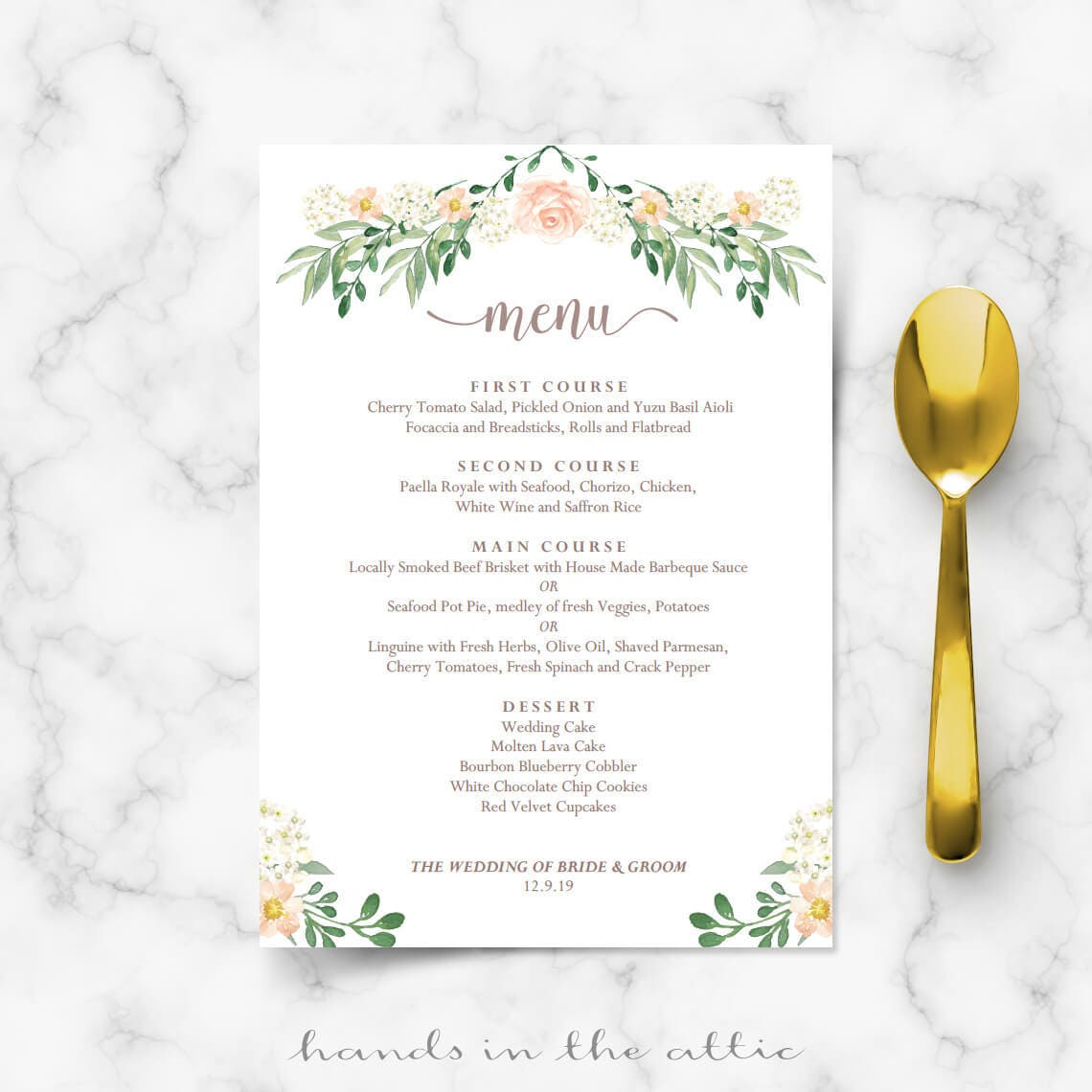 Rustic Wedding Menu Rehearsal Dinner Menu Template Sit Down