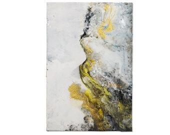 Gold and Silver Pearl - Textured Original Modern Art - Mixed Media