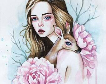 Original watercolor art and Fine Art Prints.  Tenderness.