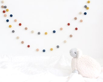 Navy Mustard Gray Garland- Felt Ball Garland- Nursery Decor- Pom Pom Garland- Felt Garland-Tribal nursery Decor- Boy Nursery decor- Baby boy