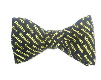 Mens SILK BOW TIE Jewish Heritage Yiddish Expressions For Stu P BowTie