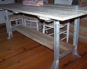 "Cottage Chic Barn Wood 81"" Trestle Farm Dining Table, Industrial Metal Legs"