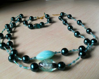 set (necklace and bracelet) colorful, chic, classy (blue green)