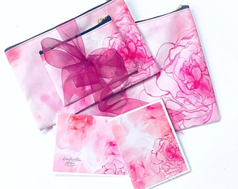 Beautiful Watercolor Roses Travel/Cosmetic Pouches plus Notecards Set