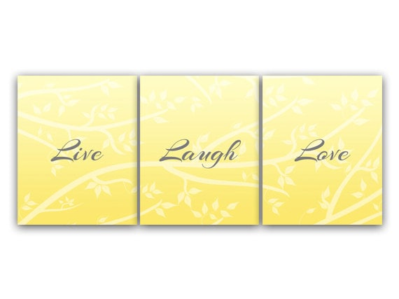 Home Decor Wall Art Live Laugh Love INSTANT DOWNLOAD Yellow
