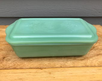 Vintage FIRE KING Philbe Pattern JADEITE Large Covered Dish with Lid