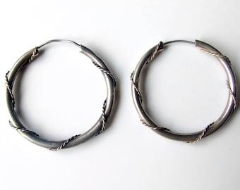 Vintage Silver Rope Hoop Earrings