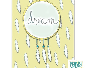 Dream Illustration Handlettered Dreamcatcher Print