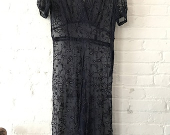 Late 1930s early 1940s vintage Eyelet Sheer navy blue dress smocked shoulders swing 30s 40s lace