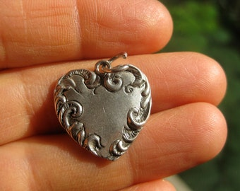 Silver Reposse Heart Charm Sterling Silver HEART Pendant Charm for Necklace Victorian Revival