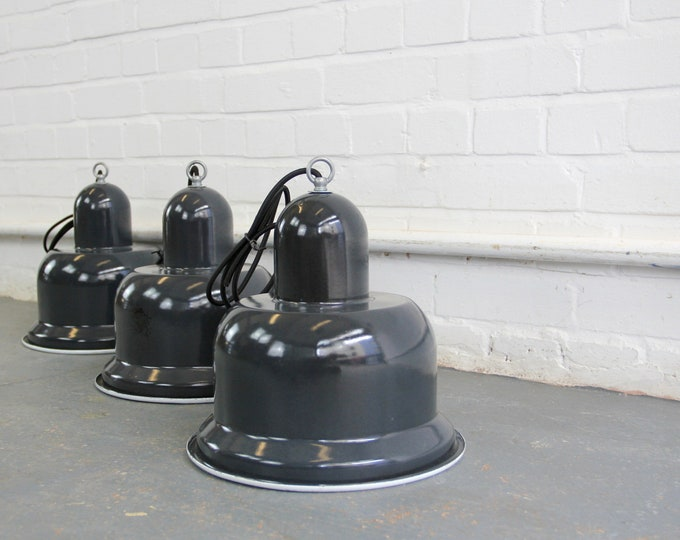 Unusual Enamel Soviet Factory Lights Circa 1950s