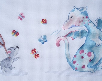 KL126 Catching Butterflies! Dillon and Ko Counted Cross Stitch Kit