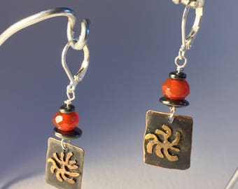 Alá Matisse Earrings with Orange Carnelion &  Hematite Beads with stainless steel lever back earwires
