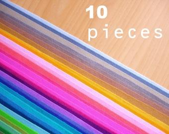 10 wool felt fabric pieces 20x30cm - Choose your colors -Irisfelt-
