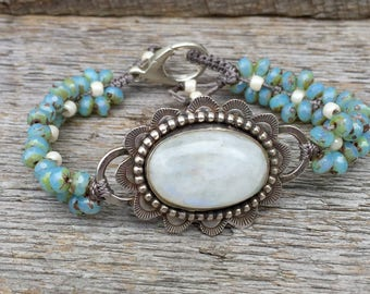 Sterling Moonstone Statement Bracelet Handmade . Czech Glass Beads. Rustic . Earthy . Boho .