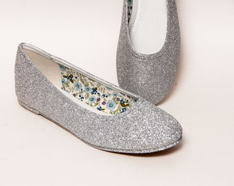 Glitter - Bright Silver Ballet Flat Sparkle Slippers Shoes