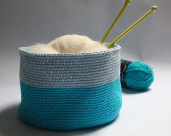 Turquoise bicolor crochet storage basket and glacier, organizer, handmade, Crochet storage basket