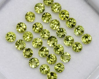 8.13 CTS Natural Peridot Round Cut 3 mm Lot 55 Pcs Lustrous Green Loose Gemstones
