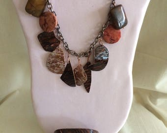 Hammered copper necklace and cuff