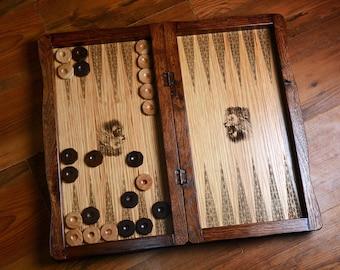 Unique wooden massive handmade backgammon set made from oak wood.