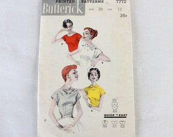 "1950s Blouse Sewing Pattern / Butterick 7772 / Peter Pan Collar Blouse / Bust 30"""