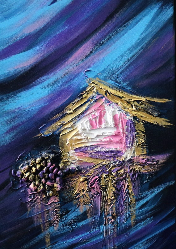 Christmas gift, Blue abstract art, sun and moon, moon wall painting, hawaii painting, seascape painting, ocean wall art, seashell decor
