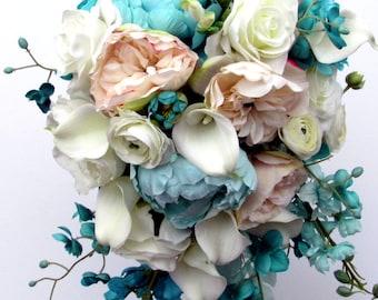 Bridal Bouquet, Bridesmaid Bouquet, Teal, Turquoise, Blush, White, Roses, Calla Lilies, Cascade, Silk Floral, Peonies