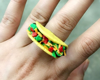 Taco ring, miniature food jewelry, polymer clay jewelry