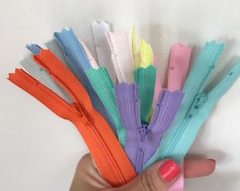 8 inch Zips,colurful zips, zippers ,8 inch zips, dressmaking, bag zips, haberdashery, sewing supplies