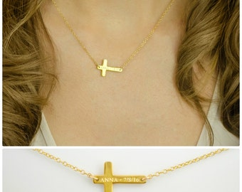 Engraved Cross Necklace, sideways cross, Personalized gold cross necklace, name necklace, custom necklace, Religious Jewelry, Baptism Gift
