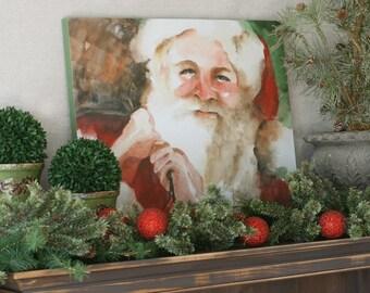 Christmas decor Christmas wall decor Santa decoration for christmas large art Santa painting Santa wall hanging watercolour CANVAS