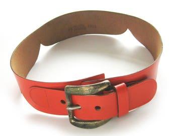 Womens' Vintage ORANGE Leather Belt - Mahler Top Grain Cowhide Belt / Gold Tone Buckle  / Size 24