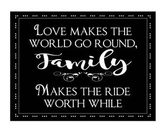 Family Sign, Family Love Sign, Love Make World Go Round Sign, Family Makes Life Worth While, Inspirational Sign, Faux Chalk Sign,