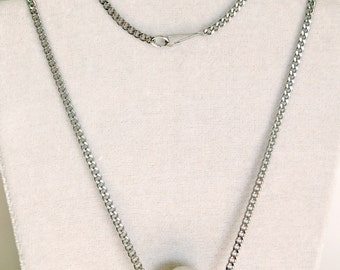 Stainless Steel and Tourmalinated Quartz Bar Necklace, Tourmilated Quartz Crystal Black and White Necklace, Tourmalated Quartz Jewelry