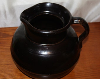 Large  Antique Stoneware Pitcher Brown Glazed Pottery Crock Jug Primitive