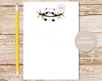 panda notepad . panda bear note pad . stationery . stationary . hello notepad