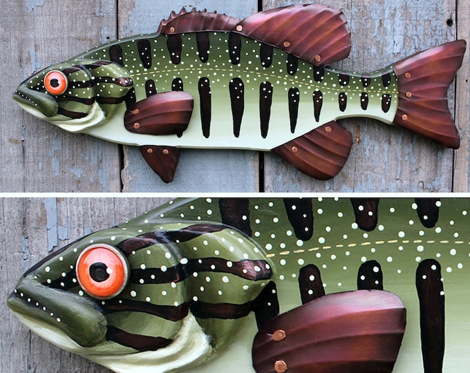 "21"" Bass wall art,  Smallmouth Bass,Lodge decor, wood fish sculpture, colorful folk art fish, handcrafted in Vermont, unique gift wood"