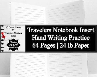 Travelers Notebook Insert Hand Writing Practice Calligraphy Practice Cursive Practice Paper Hand Lettering Practice