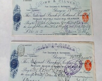 1912 Gibb & Clunes/National Bank of Scotland Limited Checks, Set of two Antique Bank Drafts, Ephemera