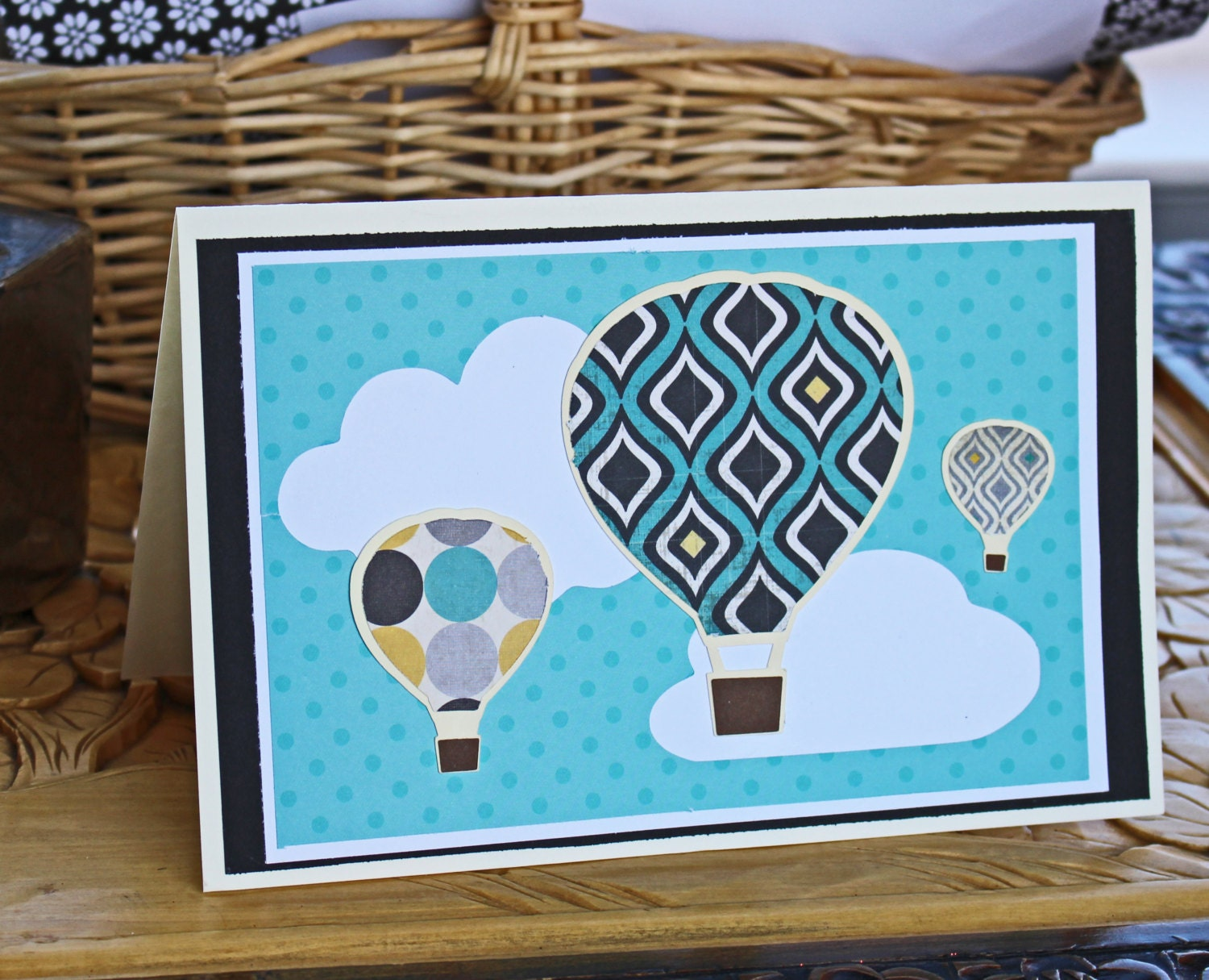 Personalized hot air balloon birthday card custom handmade hot air balloon greeting card balloons clouds gallery photo gallery photo bookmarktalkfo Image collections