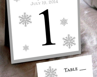 25 Snowflake Table Numbers and 250 place settings - Includes personalization and printing!
