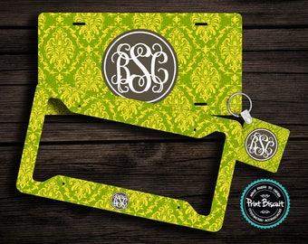 License Plate, Car Plate, Car Tag, Back Car Tag, Lemon Lime Monogram License Frame, Bicycle Tag, Front Car Tag, Personalized Tag 52LT